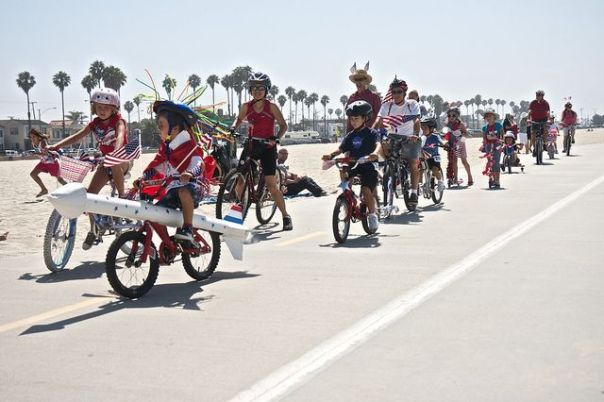 4th of July in Long Beach Kids Bike parade in Belmont shore